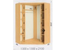 Шкаф купе угловой 1300х1300х2100 (2200)